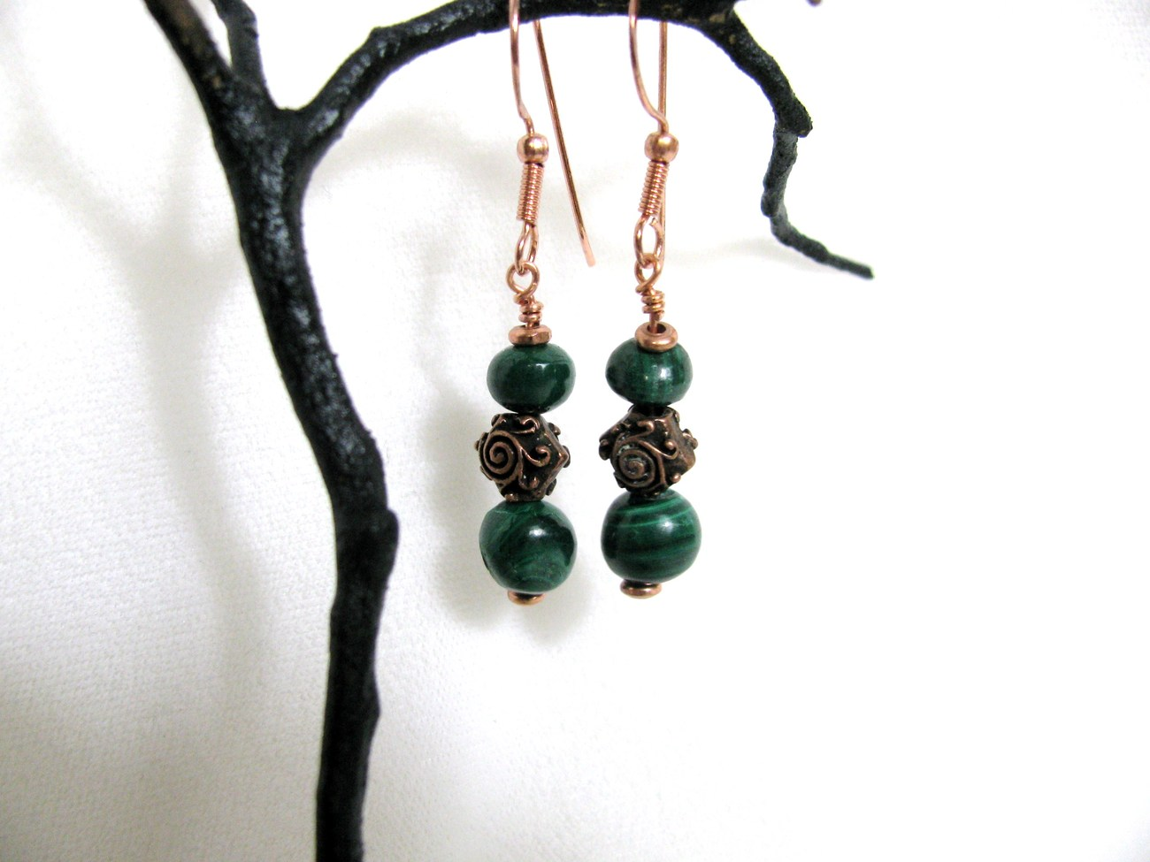 Malachite and Copper Bead Earrings RKMixables Copper Collection RKM336