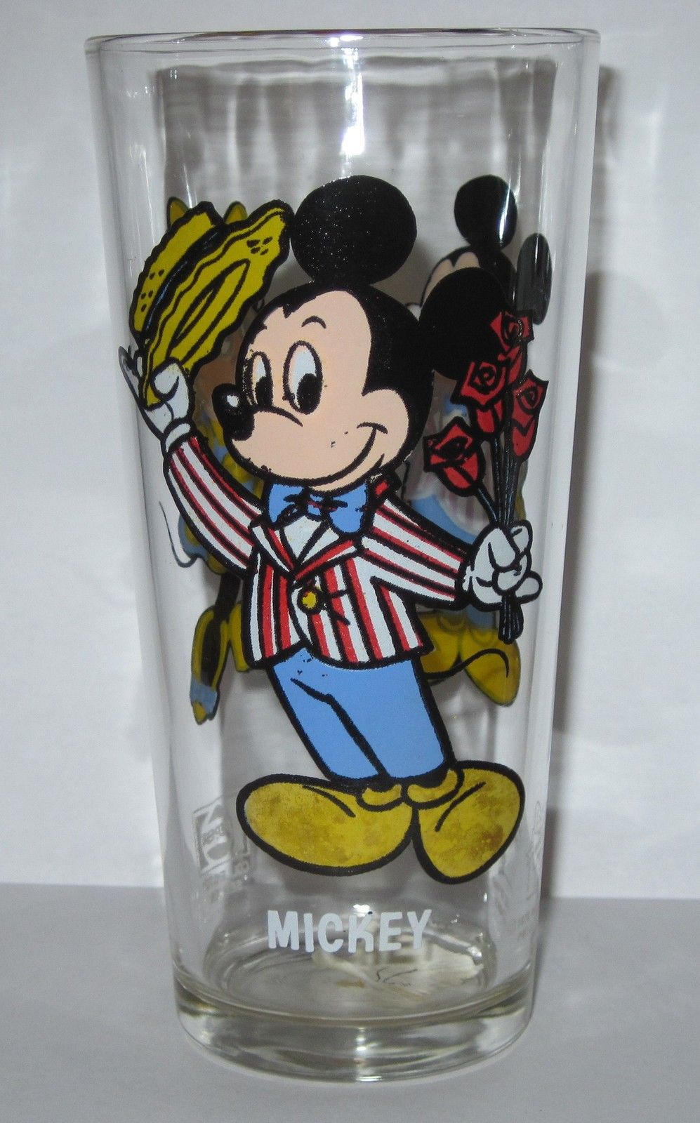 1978 Mickey Minnie Mouse Disney Character Glass Tumbler Pepsi Roses Valentines