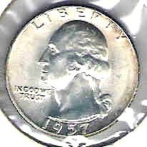 Choice Brilliant uncirculated 1957 P Washington Silver Quart - $12.00