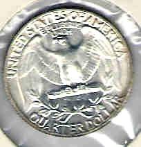 Choice Brilliant uncirculated 1957 P Washington Silver Quart