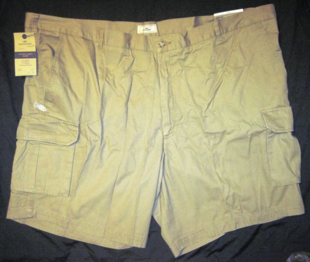 NWT Dockers Big Mens Cargo Shorts Khaki Tan Relaxed Fit Flat Front MP3 Pocket