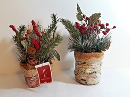 Decorative Holiday Tabletop Greenery Frosted Pine Needles & Twigs Center... - $9.49+
