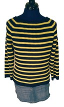 Vtg Tommy Hilfiger Womens Sweater Large Yellow Navy Blue Striped Boat Ne... - $28.77