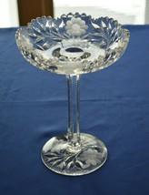 "Crystal Daisy Leaf Compote With  Daisies on Base 8 1/4"" Tall - $24.75"