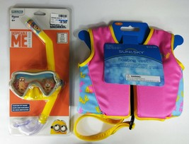 2 LOT: Sun And Sky Child's Floating Vest & Despicable Me Minion Mask Sno... - $19.79