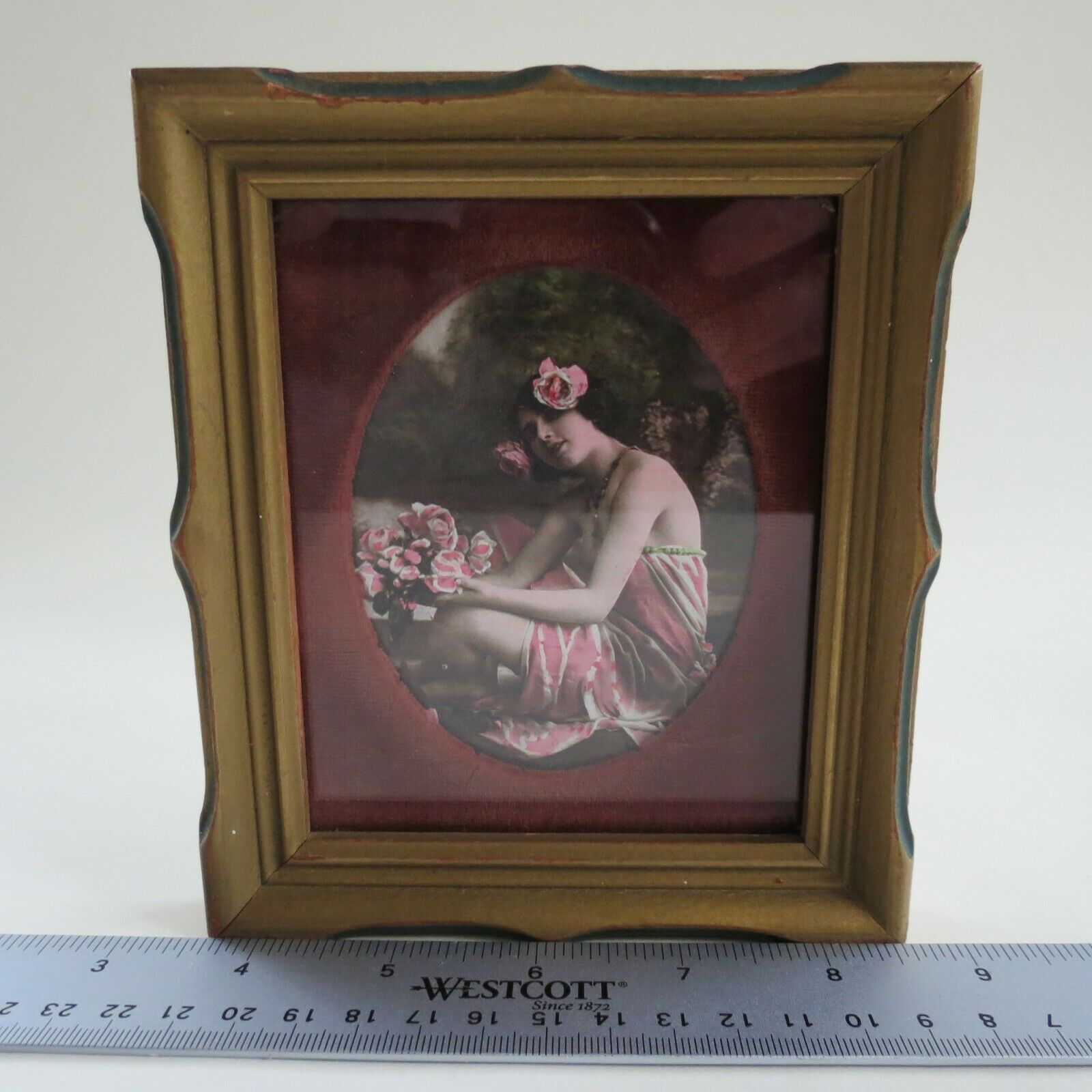 Antique Nude colorized Hawaiian Girl wood framed behind glass Risque red felt