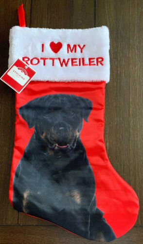 Primary image for Dog Red Satin Christmas Stocking  I Love My ROTTWEILER Holiday White Fuzzy Cuff
