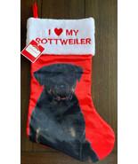 Dog Red Satin Christmas Stocking  I Love My ROTTWEILER Holiday White Fuz... - $14.84