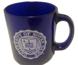 Mug 12oz Glass University of Notre Dame Fighting Irish Cobalt Blue White... - $18.81