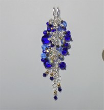 Handmade Safety pin brooch pin Blue cluster Chunky glass crystal Pendant... - $20.00
