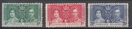1937 Coronation Set of 3 Falkland Is Postage Stamps Catalog Number 81-83 MNH