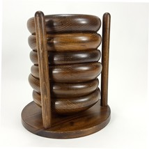 """Wood Carved 6"""" Snack Salad Bowl Set w Rack Holder Stacking Party Serving... - $19.20"""