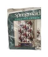 Vtg 80's Springmaid JOLENE Shower Curtain Hunter Green Maroon Gold Flora... - $29.69