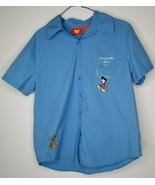 Disney Vintage Blue Mickey Pluto Embroidered Button Shirt Small Reach Fo... - $24.99