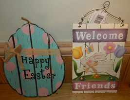 Lot of 2 Wooden Easter Signs  - $23.50