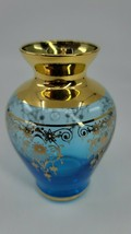 "Antique Bohemian Glass Vase Beautiful Blue Enamel Gold Trim 4.25"" Tall EUC - $105.99"
