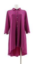H Halston Petite Jet Set Jersey 3/4 Slv Shirt Dress Elderberry PM NEW A3... - $34.63