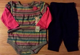 Girl's Size 6-9 M Months Two Pc Gray Striped Tulle NWT Top, Navy Carter'... - $7.50