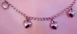 Vintage Bracelet Silver Dangling Heart Charms - $7.82