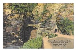 Entrance Tunnel Sentry Bridge Watkins Glen NY Finger Lake Region Linen Postcard - $4.99