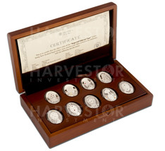 2012 SILVER IMPERIAL FABERGE EGG COIN COLLECTION SWAROVSKI CRYSTALS 9-CO... - $699.99