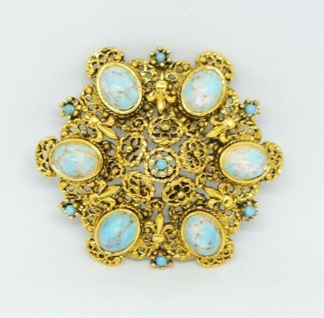 Primary image for Blue White Speckled Art Glass Cabochon Gold Tone Filigree Brooch