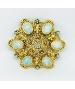 Blue White Speckled Art Glass Cabochon Gold Tone Filigree Brooch - $24.74