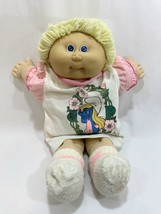 Vtg 1985 Cabbage Patch Kids Doll Yellow Blonde Hair w/Smurfette Dress #1 HM - $17.81