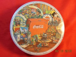 """6 3/4"""" Diameter, Tin Lithography, Round Lidded Tin, from Coca Cola. - $15.99"""