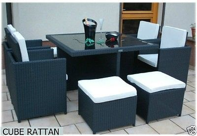 Rattan Cube Dining Set Garden Furniture Patio Table Armchairs  Mix Brown 9pcs