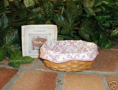 Longaberger Basket Small Oval Shape With Pink Liner and Plastic Protector New