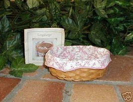 Longaberger Basket Small Oval Shape With Pink Liner and Plastic Protecto... - $29.65