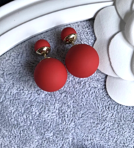 Authentic Christian Dior MATTE RED Classic  Mise En Dior Tribal Pearl Earrings