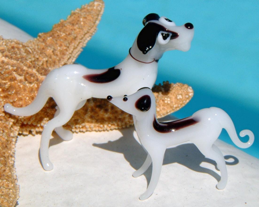 2 Vintage Blown Art Glass Dog Figurines Great Dane Puppy