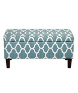 Modern Teal Moroccan Print Fabric Upholstered Storage Ottoman with Solid... - $139.53