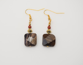 Shell and Jasper Earrings with Gold Plated Wires - reiki infused - $19.50