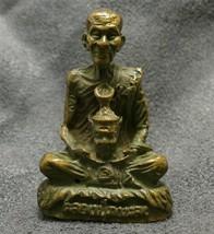 THAI POWERFUL BUDDHA MINIATURE AMULET LP KALONG LUCKY RICH SUCCESS THAILAND GIFT image 1