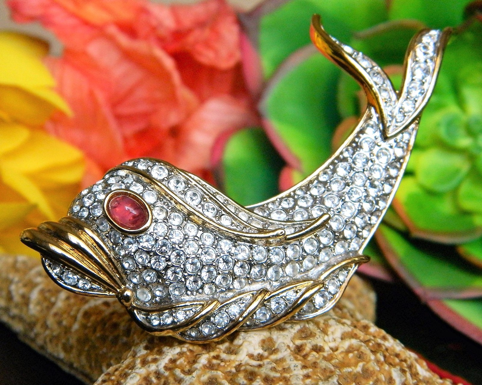 Vintage Fish Dolphin Brooch Pin Attwood Sawyer Rhinestones Signed A S