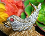 Vintage fish dolphin brooch pin attwood sawyer rhinestones signed a s thumb155 crop