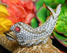 Vintage fish dolphin brooch pin attwood sawyer rhinestones signed a s thumb200