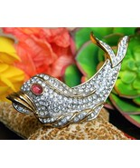Vintage Fish Dolphin Brooch Pin Attwood Sawyer Rhinestones Signed A&S - $49.95