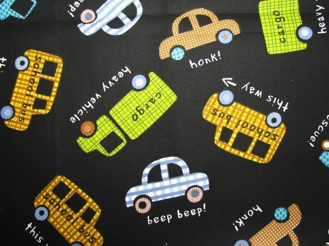 Deco Fabric Autos Buses Trucks Cars Black 1.9 yd