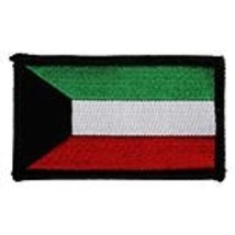 KUWAIT FLAG 2 X 3  EMBROIDERED PATCH WITH HOOK LOOP - $17.14