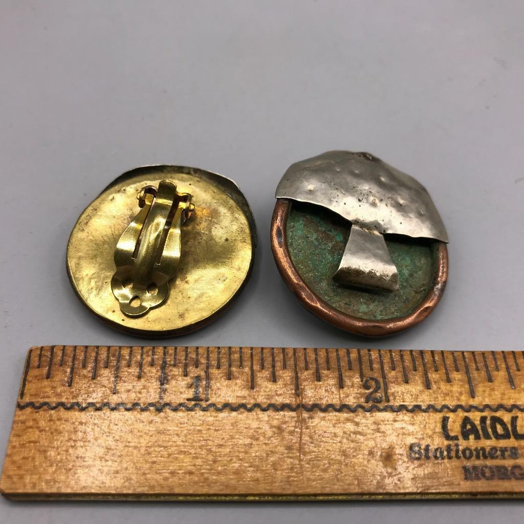 Vintage Handcrafted Metal Clip On Earrings