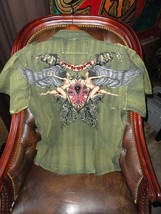 XX-Large  Short Sleeve Shirt Khaki with Embroidery Front & Back - $50.00