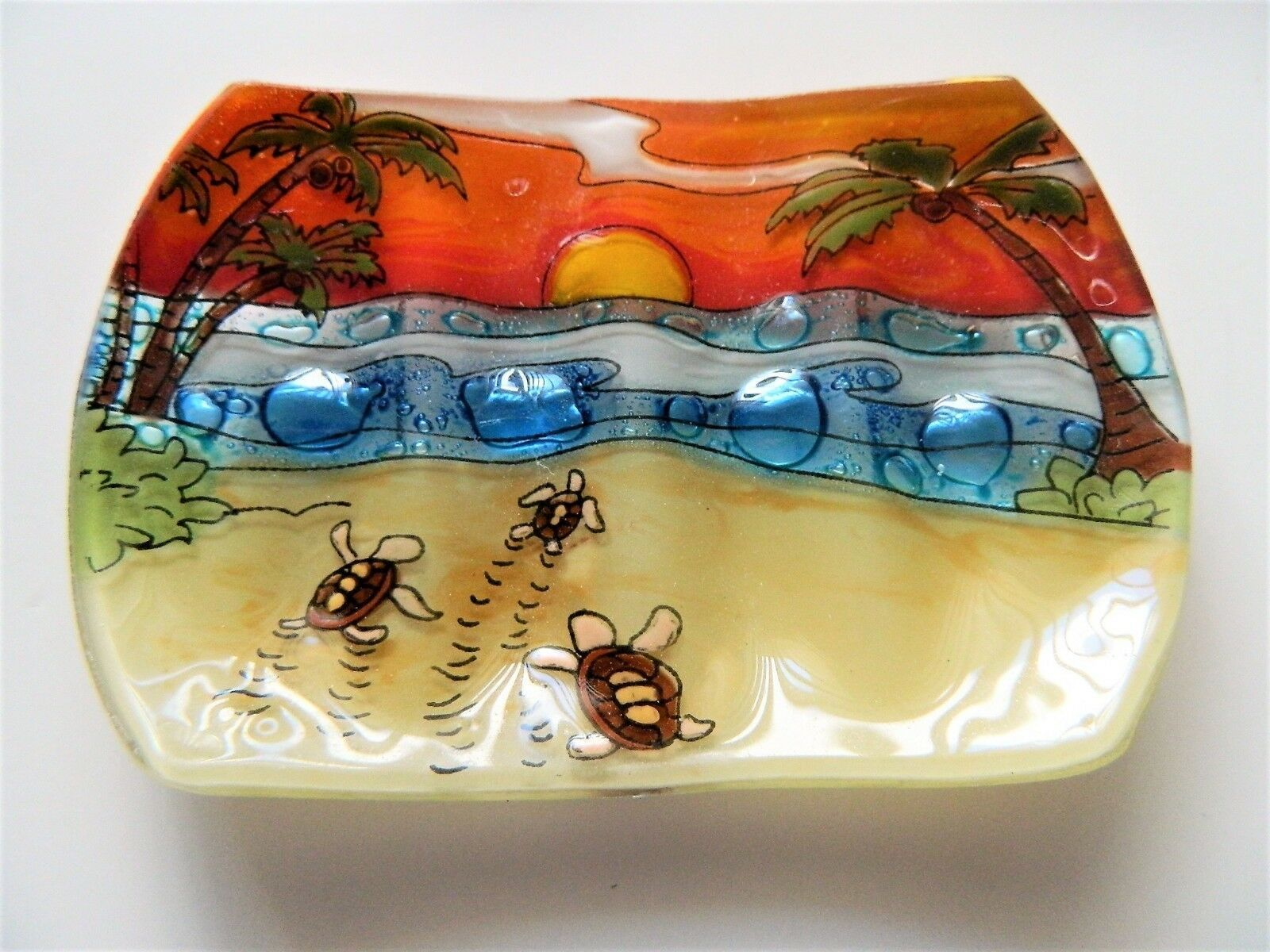 Primary image for Hatching Babies Sea Turtle Fused Art Glass Bathroom Soap Dish Ecuador Fair Trade
