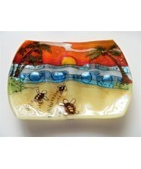 Hatching Babies Sea Turtle Fused Art Glass Bathroom Soap Dish Ecuador Fa... - €14,21 EUR