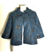 Cabi Womens Size XS Lisboa Topper #168 Teal Silver Cape Jacket - $32.71