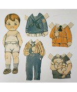 Vintage Paper Doll Boy with Outfits and Puppy Dolly Dingle Series - $13.74