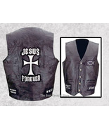 Mens Black Leather Christian Cross Motorcycle Vest Religious Jesus Forever - $19.99